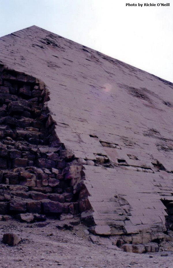 Detail of the casing stones on the Bent Pyramid (Photo by Richie O'Neill)