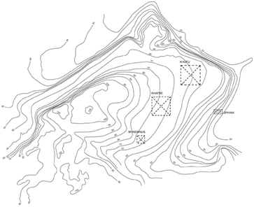 Khafre's pyramid straddling on contour lines 70 and 75 (the North is on top)