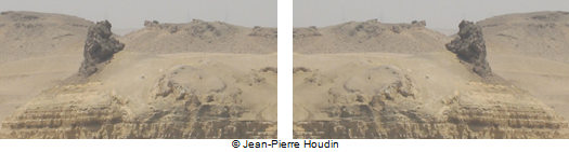 On the left, the outcrop on the right of the Hill of Crows horizontally flipped to match the Sphinx