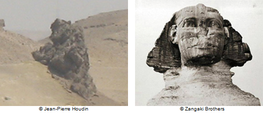 This very same outcrop (profile view) and the head of the Sphinx (front view)