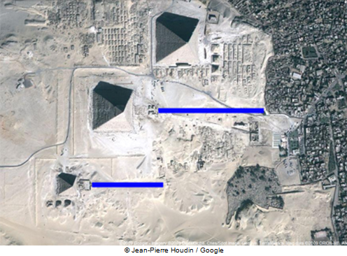 Khafre's Royal Causeway could have been in alignment with the West/East axis like Menkaure's Causeway