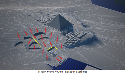 The red arrows indicate the new path of the rainwater runoff after the construction of Khufu's pyramid.  The yellow lines show the first rain runoff erosion on the walls of the quarries (erosion which can be seen nowadays on the western enclosure wall of the Sphinx and on the South side of the foundations of Khafre's Causeway).