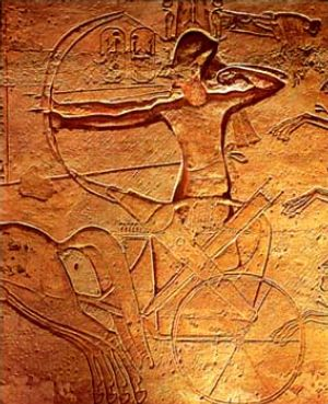 Ramesses II at the Battle of Kadesh. Note that the reins are tied to his waist, we shall return to that subject shortly... (Photo in the public domain)