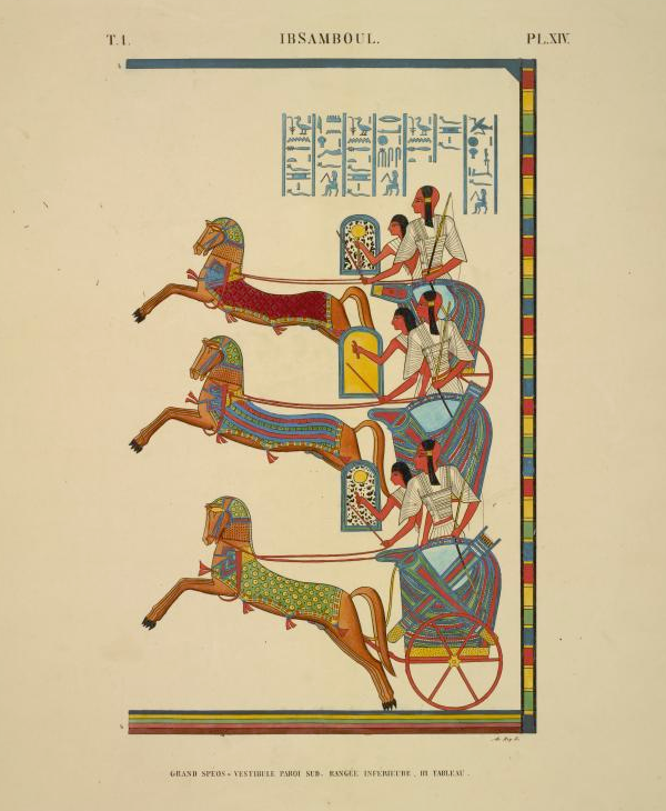 Chariot teams shown running in phase (Jean-Francois Champollion, public domain)
