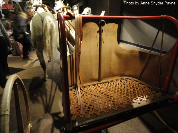 View from the left rear of the New Kingdom Chariot at the International Museum of the Horse (photo by Anne Snyder Payne)