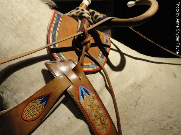 Detail of the harness on the horses in the New Kingdom chariot display at the International Museum of the Horse (photo by Anne Snyder Payne)