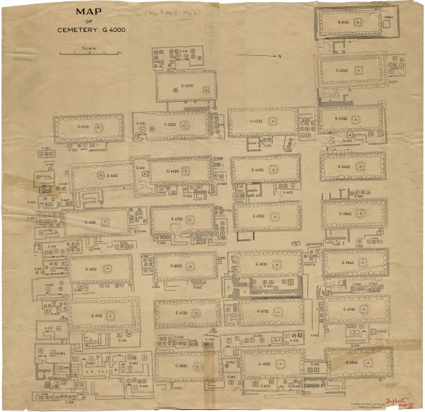 General Plan of Cemetery G 4000: surveyed and drawn by Alexander Floroff, traced by Nicholas Melnikoff, courtesy of Digital Giza: The Giza Project at Harvard University/Museum of Fine Arts Boston, photo ID HUMFA_EG020974.