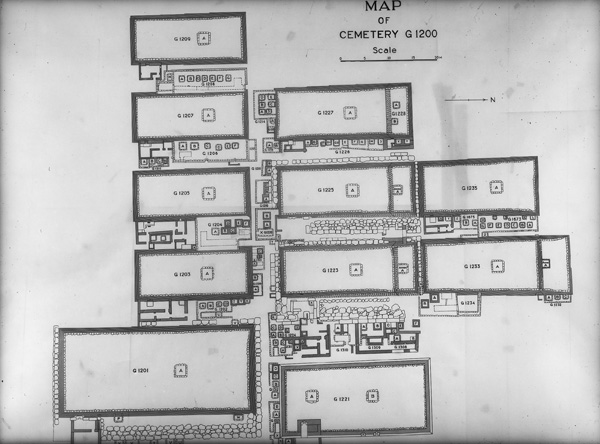 Tracing by Nicholas Melnikoff of Alexander Floroff's map of Cemetery G 1200, Courtesy of Digital Giza: The Giza Project at Harvard University/Museum of Fine Arts Boston, photo ID HUMFA_A8000_NS.
