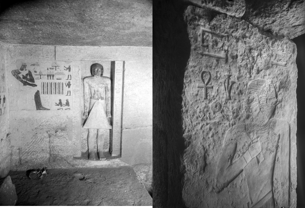 Left, Cemetery G 1200: G 1231 (= G 1234), entrance of court, eastern door jamb, inscription and relief (standing figure of Ankh-haf), looking east-southeast, Courtesy of Digital Giza: The Giza Project at Harvard University/Museum of Fine Arts Boston, photo ID HUMFA_A6492_NS. Right, G 1231 (= G 1234), entrance of court, eastern door jamb, inscription and relief (standing figure of Ankh-haf), looking east-southeast, Courtesy of Digital Giza: The Giza Project at Harvard University/Museum of Fine Arts Boston, photo ID HUMFA_A6492_NS.
