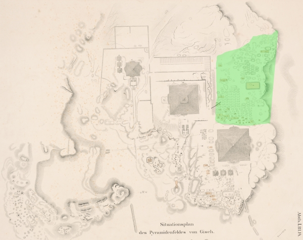 General plan of the Giza Plateau, with the Western Cemetery highlighted in green. Courtesy of Digital Giza: The Giza Project at Harvard University/Museum of Fine Arts Boston, photo ID HUMFA_EG025538.