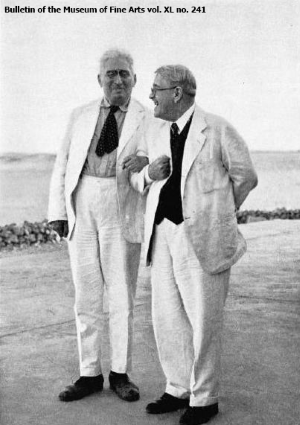 George Steindorff and George Reisner at their last meeting in Egypt. Courtesy of The Bulletin of the Museum of Fine Arts, Vol. XL No. 241.
