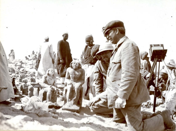 Georg Steindorff (on the right), Hermann Thiersch and Georg Möller, and the recovery of 20 statues from the Mastaba of Mastaba of Djasha, D39/40, 03/23/1905. Courtesy of the Egyptian Museum of the University of Leipzig, Photo ID AMUL 9195, Egyptian Museum accc. no. JE 37820.