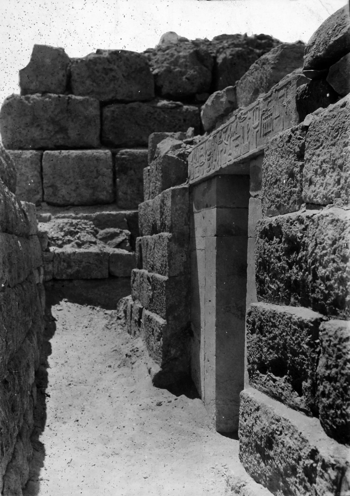 D 117, eastern face, chapel entrance, lintel inscribed for Wehemka (part of Hildesheim acc. no. 2970), looking south-southwest. Photo ID KHM_o_neg_nr_0640, photo and description courtesy of the Giza Archives maintained by Harvard University and the Museum of Fine Arts Boston, online at Digital Giza.